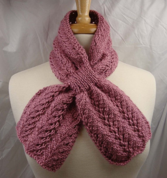 Lace Keyhole Scarf Knitting Pattern : Lace Keyhole Scarf Hand Knit Dusty Rose Pink Ready to