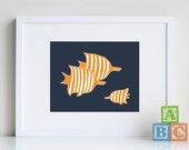 Fish Decor, ocean nursery art for baby 8 x 10 print - different colors and sizes available