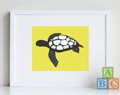 Sea Turtle Art, kids bathroom art, beach decor, 8 x 10 print - you pick custom colors