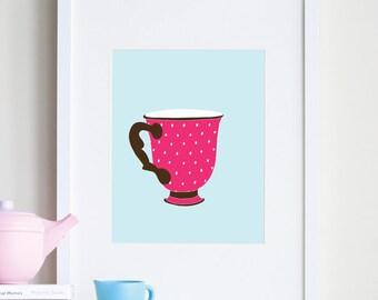 Polka dot art, teacup room decor 8x10 print by nevestudio - customizable colors