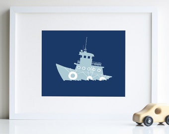 Nautical Nursery Art, tugboat silhouette 8 x 10 modern art print - different sizes and colors available