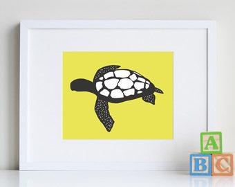 Sea Turtle Art, kids bathroom art, beach decor, 8 x 10 print - you pick custom colors