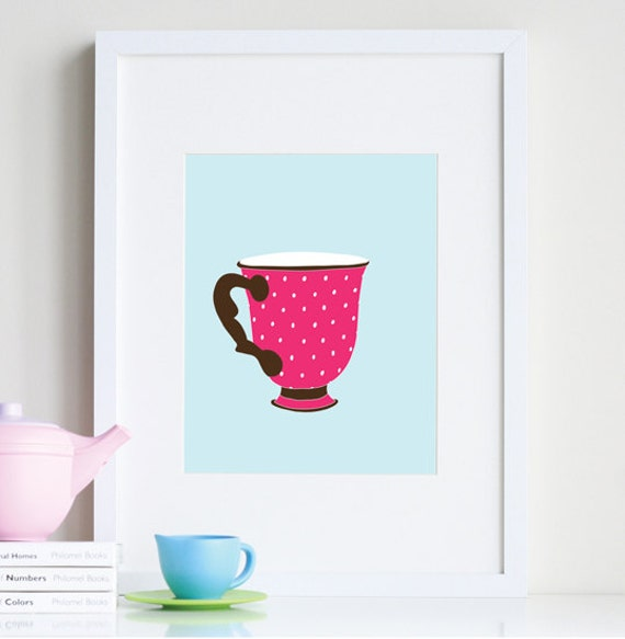 Polka dot art teacup room decor 8x10 print by nevestudio for Dots design apartment 8
