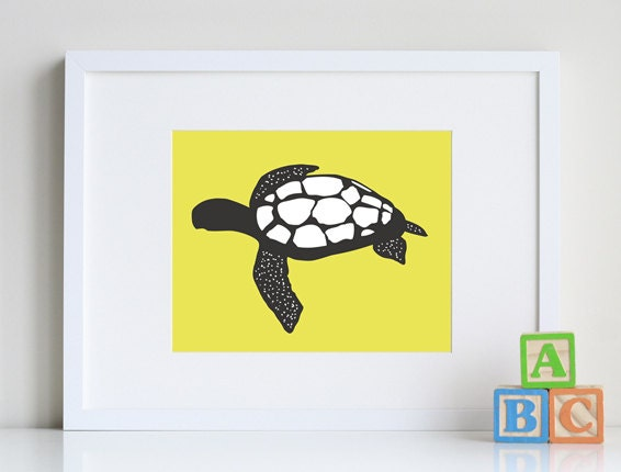 Turtle Bathroom Decor: Sea Turtle Art Kids Bathroom Art Beach Decor 8 X 10 Print