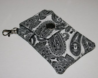 Fabric Smartphone case, Droid case, iPod touch case, iPhone 5 case, iPhone 4-4s case, iPhone Case, Blackberry, White/Black Scroll