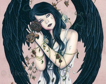 Wither PRINT Gothic Angel Fantasy Art Wilted Roses Flowers Dying Decay Dark Ivy Pink Black Wings Watercolor Portrait 3 SIZES
