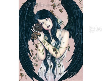 Wither ACEO Print Gothic Angel Art Artist Trading Cards ATC Pink Roses Death Decay Fantasy Art Portrait