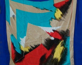 Pierre Cardin silk scarf   Abstract desugn bold colors Paris 34X34