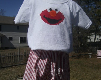 Elmo Shorts Set, Seersuckers shorts, Boys, Girls, Appliqued, Sizes 12mo,24mo,3t,4t,5t,  Ready to Ship