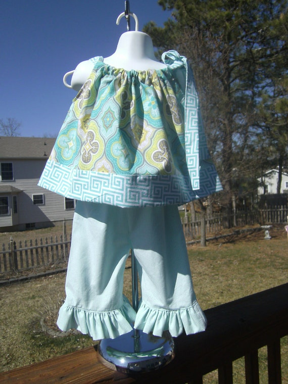 Girls 2pc Summer Outfit, Top and Ruffled Capris, Aqua,Green,Sizes 12Mo.24mo-2t,3t,4t,5