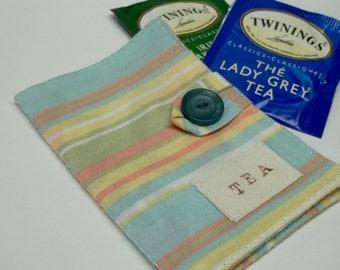 Striped blue cotton tea wallet,eco-friendly,eco friendly,under 10 dollars,tea wallet,tea bag holder,tea bag caddy,travel teabag