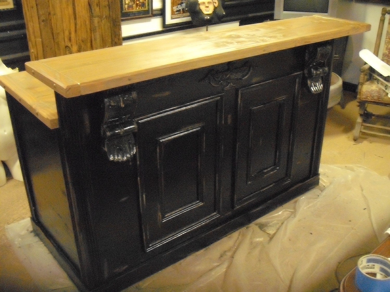Kitchen cabinets black distressed - Out Counter Kitchen Island Bar In Distressed Satin Black On Etsy