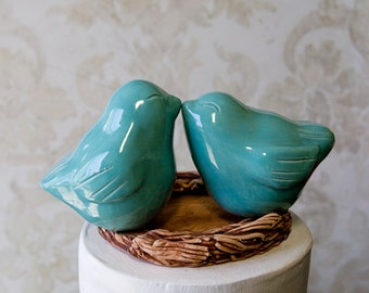 Robin Egg Blue Love Bird Cake Topper