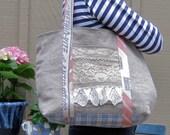 Natural Linen and Lace Tote Handbag