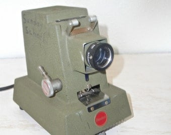 standard film projector - olive green urban industrial decor - used for Sunday school