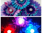 One Princess COLOR CHANGING Purple Pink and Blue Electric Daisy Hair Clip Flower Accessory, Neon Light Up Rave Wear, Music Festival Costume