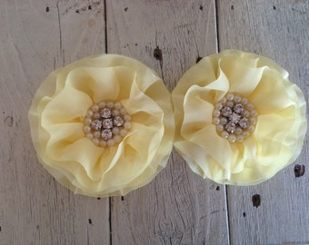 FLOWERS-Rhinestone and Pearl Center LIGHT YELLOW--set of 2-4 inches wide