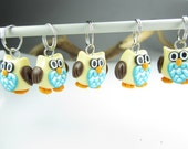 Owl Stitch Markers - Set of 5 - knit knitting polymer clay owl charms stitch markers