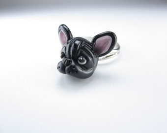 Black French Bulldog Ring gift - Dog jewelry miniature animal dog lover gifts polymer clay adjustable ring Frenchie friend cute kawaii