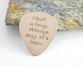 Personalized Guitar Pick, Customized, Hand Stamped Bronze