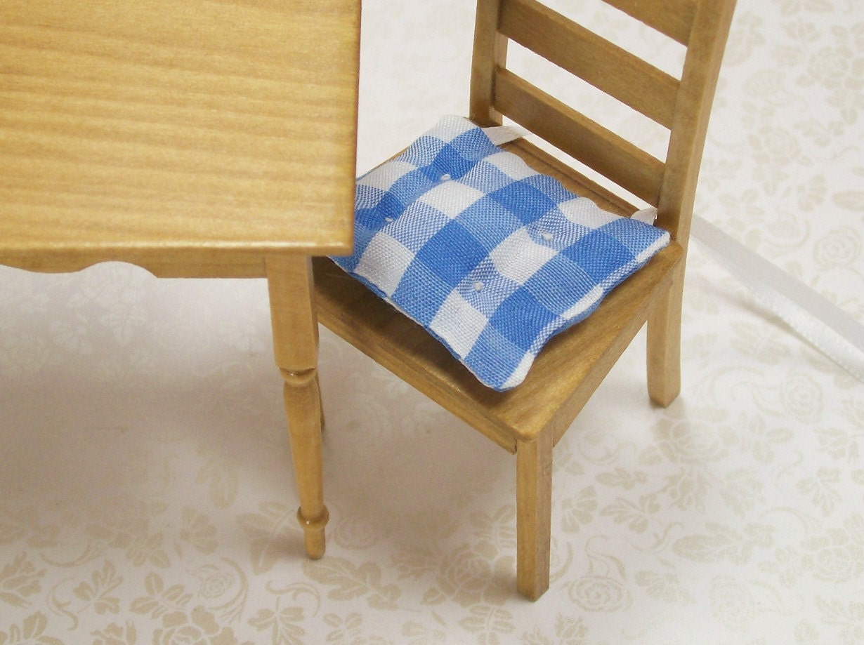 chair cushions kitchen pads blue white gingham 1 12 by dalesdreams