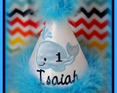Whale First Birthday Hat,  You Choose Colors, Embroidered, Monogram, Boutique Quality  by GINGHAM BUNNY EMBROIDERY