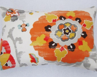 """Suzani Pillow Cover - Indoor/Outdoor Suzani Gold and Tangerine - Pillow Case 12"""" x 18"""""""