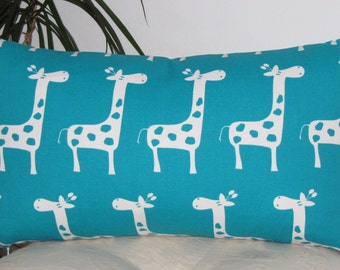 """Turquoise Giraffe Pillow Cover - Pillow Case 12""""x18"""" - Invisible Zipper - Same Fabric Both Sides."""