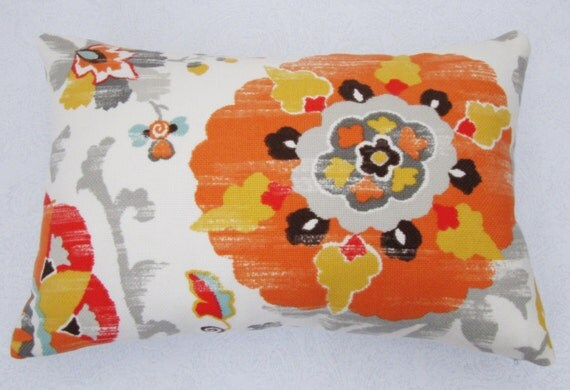 "Suzani Pillow Cover - Indoor/Outdoor Suzani Gold and Tangerine - Pillow Case 12"" x 18"""