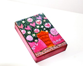 Love Grows Tree - Aceo Giclee print mounted on Wood (2.5 x 3.5 inches) Folk Art  by FLOR LARIOS