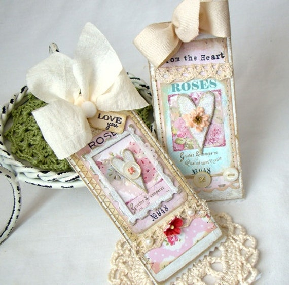 From the Heart  Handmade chipboard tags shabby chic style