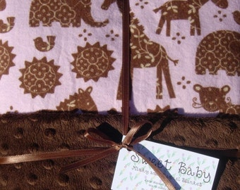 Large Pink Jungle Animals Flannel and Minky Dot Baby Blanket - 34 X 40