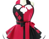 Retro Apron - Harlequin Womans Aprons - Vintage Apron Style - Pin up Villian Rockabilly Cosplay