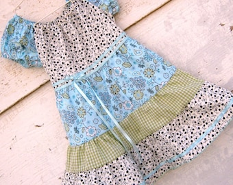 Dress- -Springtime Peasant Dress, Size 3  Aqua Blue and light Moss Green
