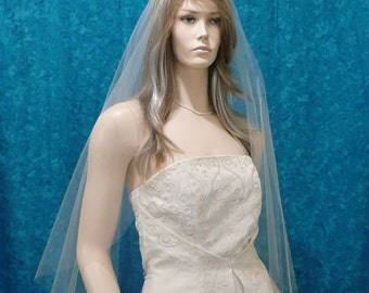 Super Sheer  One Tier Bridal veil  fingertip length with plain cut raw edge Angel  Cut