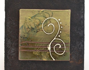 SALE - Ceramic Tile Wall Plaque (yellow and green) - Meagan Chaney Gumpert (08-23)