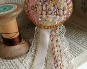 Hand Embroidered Brooch Pin: 'True of Heart'