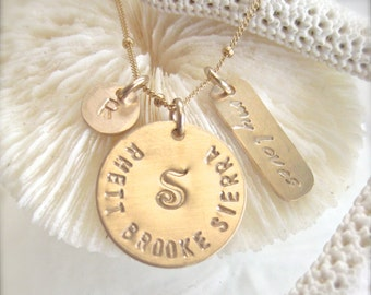 Mother / Grandmother Necklace in Gold - stamped and personalized