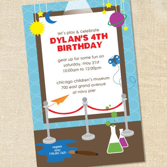 Sweet Wishes Childrens Museum Science Birthday Party Invitations