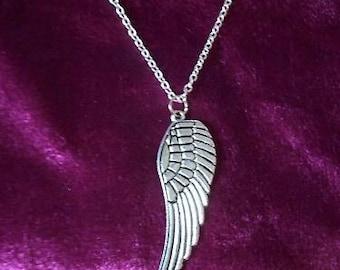Single Tibetan silver guardian angel wing necklace