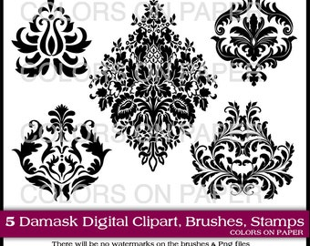 Digital Damask Clipart  Instant Download.Photoshop Brushes & Stamps. Digital Scrapbook. Personal and Limited Commercial Use.