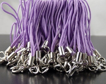 CLEARANCE CELL PHONE Straps 24 Zipper Pulls Jump Rings Lobster Clasp Light Purple Lanyard Cord (1011stra60p1)os