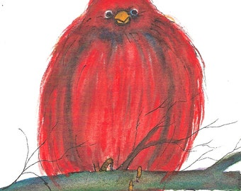 Oliver Red Bird, Aceo, PRINT of original illustration
