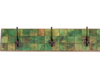 Wall Coat Rack - Handmade Paper - Green Marbled - Large Mosaic Square Tile - Mudroom Storage - Clothes Hanger - Wall Organizer