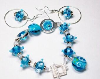 Olypian Blue Glass Silver Bracelet Earring Set Lampwork Dangle Original Handmade