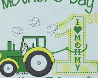 Happy First 1st Mother's Day Onsie LOVE w/ Babies Name Iconic Green Tractor w/ BOY Name Great Baby Gift for NEW Mommy