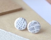 White studs, small post earrings, surgical steel