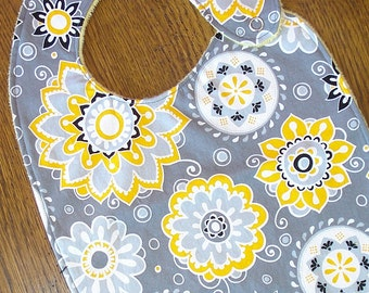 Gray and Yellow Flower Minky Baby/Toddler Bib - LAST ONE