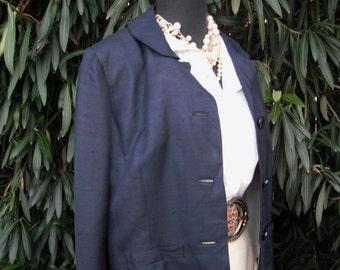 Vintage DAVIDOW Jacket /  Silk Jacket / 1950s/60s Navy Blue Silk Jacket / Marshall Field & Co. Suit Jacket by DAVIDOW