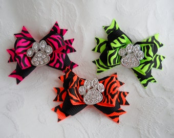 Dog Bow-  Bright Zebra Stripe Boutique Dog Bow